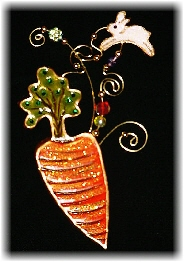 Easter Carrot with Mini Bunny Pin-This porcelain handmade pin is hand-painted in translucent paints,  bright colors and gold enamel details. Accented w/Medium and 5mm Amethyst Austrian Crystals. The carrot is embellished w/translucent Glass Orange Glitter. Gold plated wire and glass beads are used for final details.Unique Design!