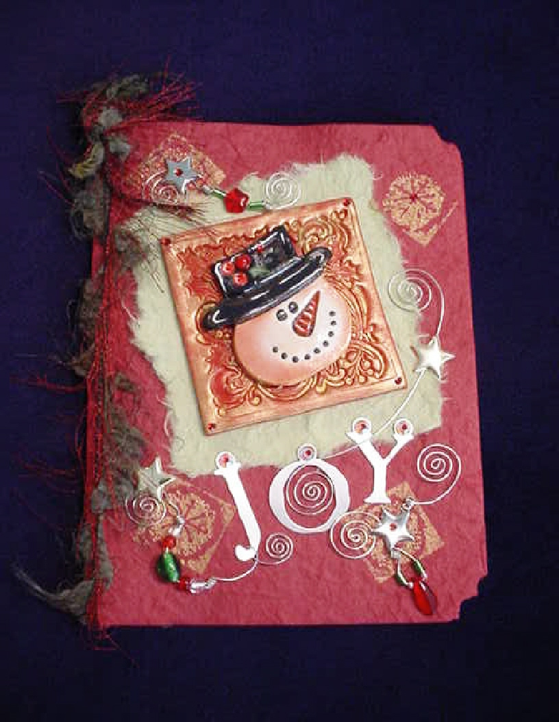 Christmas Handmade Greeting Cards-Snowman Card Red