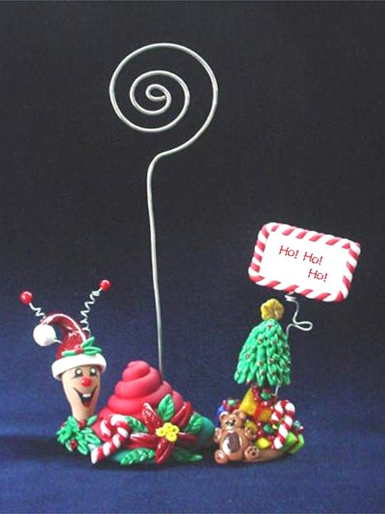 Seasonal Snail Christmas Photo or Note Holder-Handmade with glazed Fimo. Nickel and silver wire are used for final details. Each Item can be personalized or the note can bring a special message.