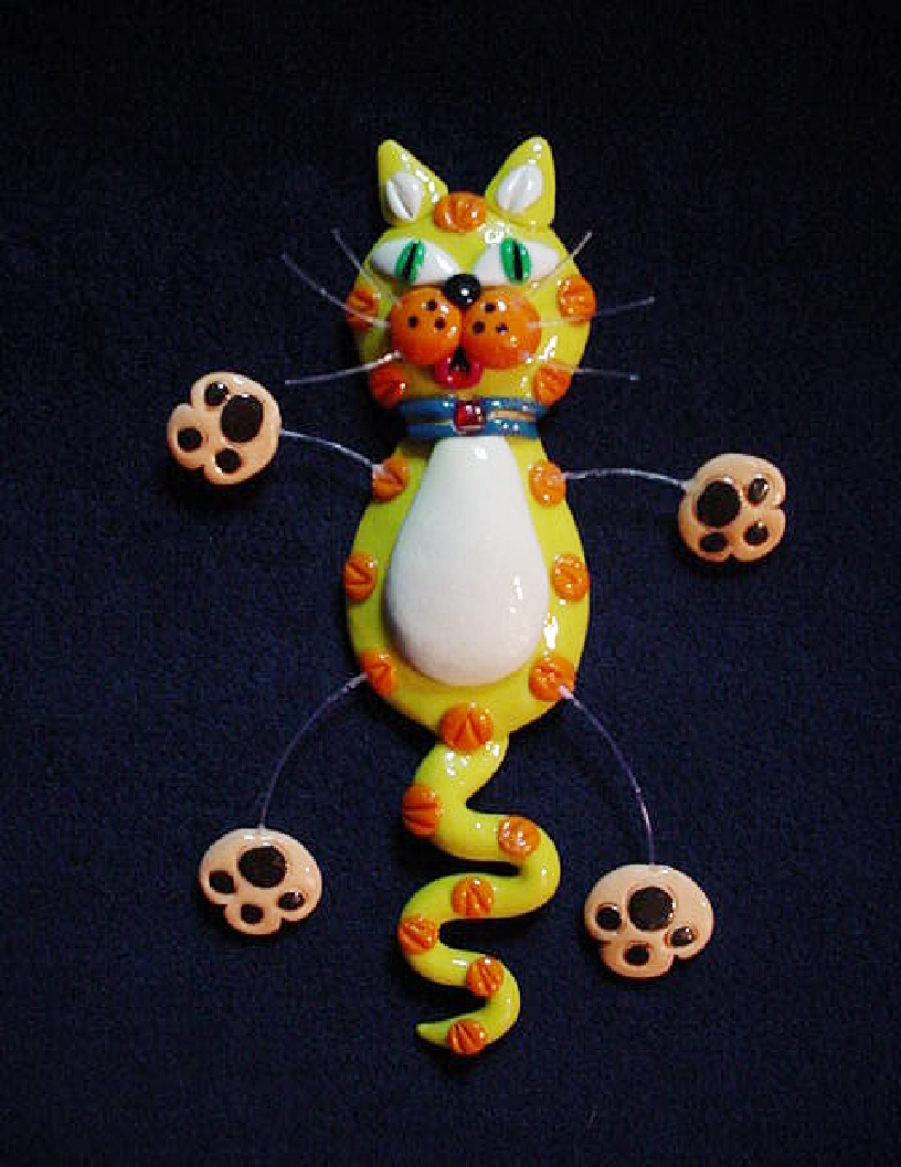 Fimo'Yelloww Cat' Jewelry Pin Collection-Handmade with polymer clay. Micro filament is used for final details. Also can be used as a magnet.Note-name is not mispelled