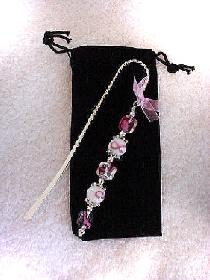 Cancer Awareness Bookmark- Handcrafted with a twisted metal bookmark, glass and silver beads and spacers. Pink organza ribbon. Because we have hope! Each bookmark comes in a suede black bag for protection and presentation. Just beautiful and tender!