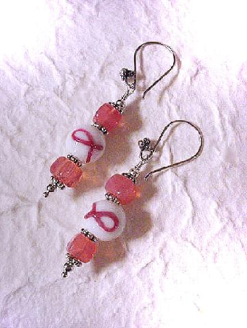 Cancer Awareness Earrings - Handcrafted with glass beads and sterling silver wire and beads. All earrings comes with an earring holder. Beautiful and unique, because we care!