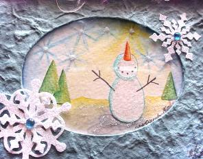 Handmade and Painted Snowman Card