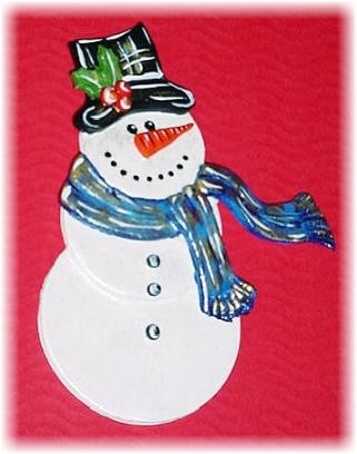 Christmas Pearly Snowman Pin- This porcelain handmade pin is painted in pearly white and bright colors details. Each detail is set one by one. Hanging Ornament will be available soon!