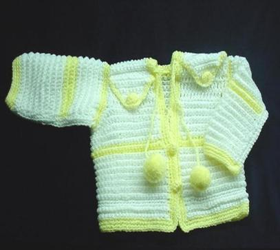 Handmade needlecraft with white and yellow BERNAT acrylic and nylon yarn. Very soft texture. The yarn is special for baby's skin. Beautiful and Unique design!