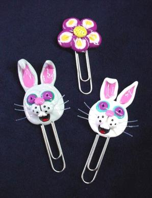 'Easter' Paper Clips-Handmade with glazed Fimo and large paper clips. Functional, colorful, funny and durable. Make everyone laugh with these unique gifts!  Perfect for Secretaries Day, Church groups or 'Back to School' gifts.