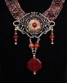 Fiber Crochet Carnelian Necklace-Handcrafted with beautiful fibers, Semi-precious Carnelian Gemstones and Nuggets. Unique design!