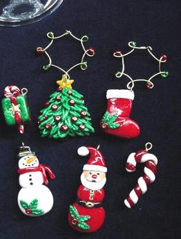 Holiday Wine Charms- Handmade with glazed Fimo. Gold wire, glass beads and Austrian Crystals are used for final details. (Decor purpose only) Unique Design!