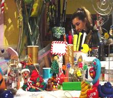 Mary in her shop...creating unique handmade crafts, decorated eggs, and collectable gifts.