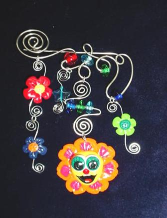 Handmade with glazed Fimo. Nickel and  silver plated  wire are used for final details. Glass beads are used to embellish the Fimo flower creations.