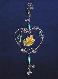 Heart Wire and Beads Ornament showing the Autuum Leaf Accent