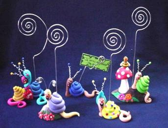 Gang of 5 Snail Photo or Note Holder-Handmade with glazed Fimo. Nickel and silver wire are used for final details. Beautiful to start a new collection line.